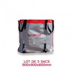 Sac à Gravat Big Bag Réutilisable Lot de 5 sacs (900x900x800)
